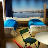 A mock bedroom in the Olympic Village in June | RYUSEI TAKAHASHI
