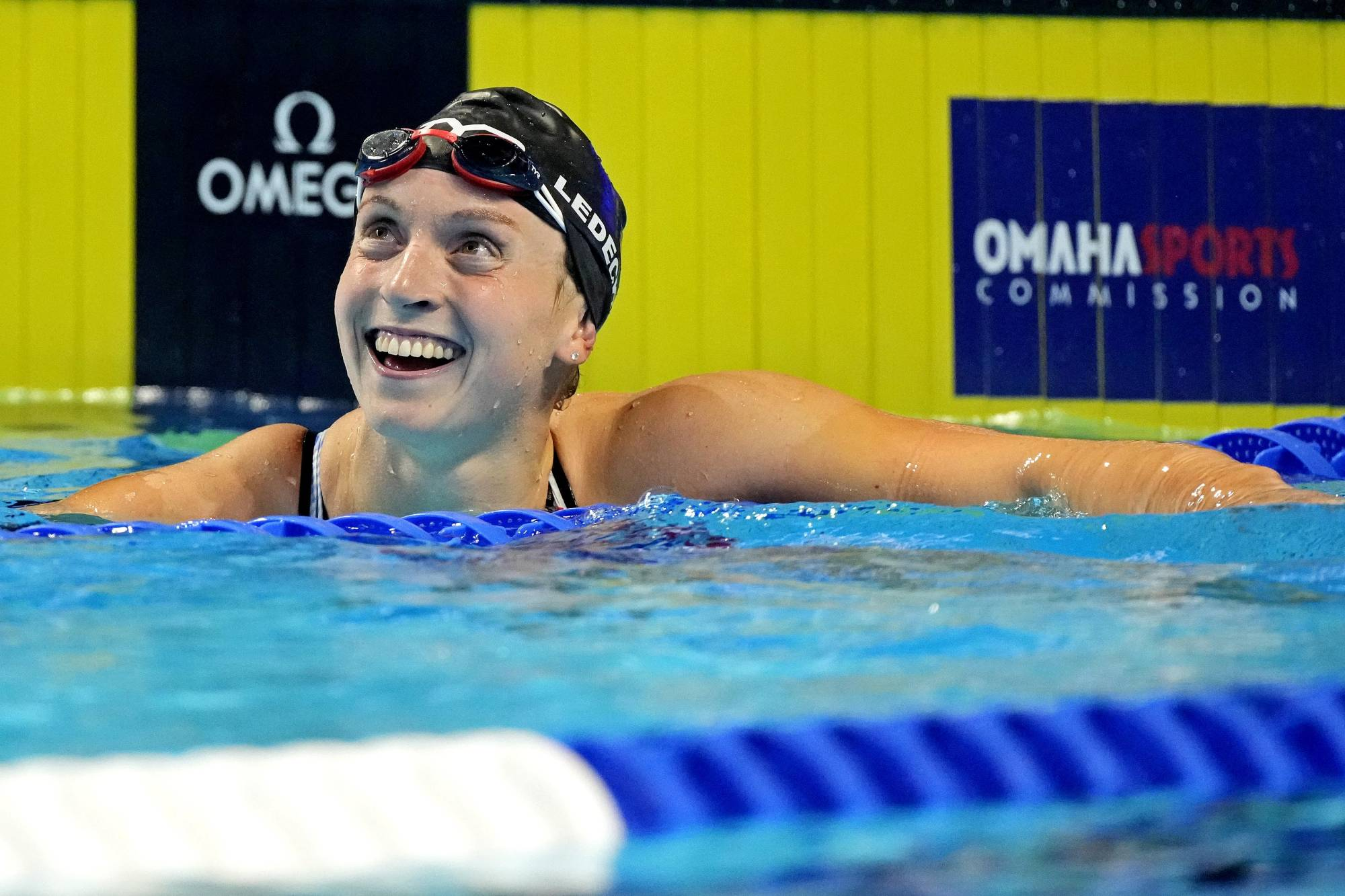 Katie Ledecky reacts after winning the 800m freestyle event during the U.S. Olympic trials in Omaha, Nebraska, on June 19. | USA TODAY / VIA REUTERS