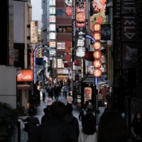 Bars line a street in the Shinjuku district of Tokyo. | BLOOMBERG
