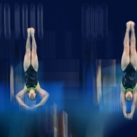 Japan's Hazuki Miyamoto and Haruka Enomoto in action during the women's synchronized 3 meter springboard diving final the Tokyo Aquatics Centre on Sunday. Japan took 5th place with 269.40 points.  | AFP-JIJI