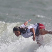 Sofia Mulanovich of Peru during heat 5 of the women's shortboard competition on Monday.    REUTERS