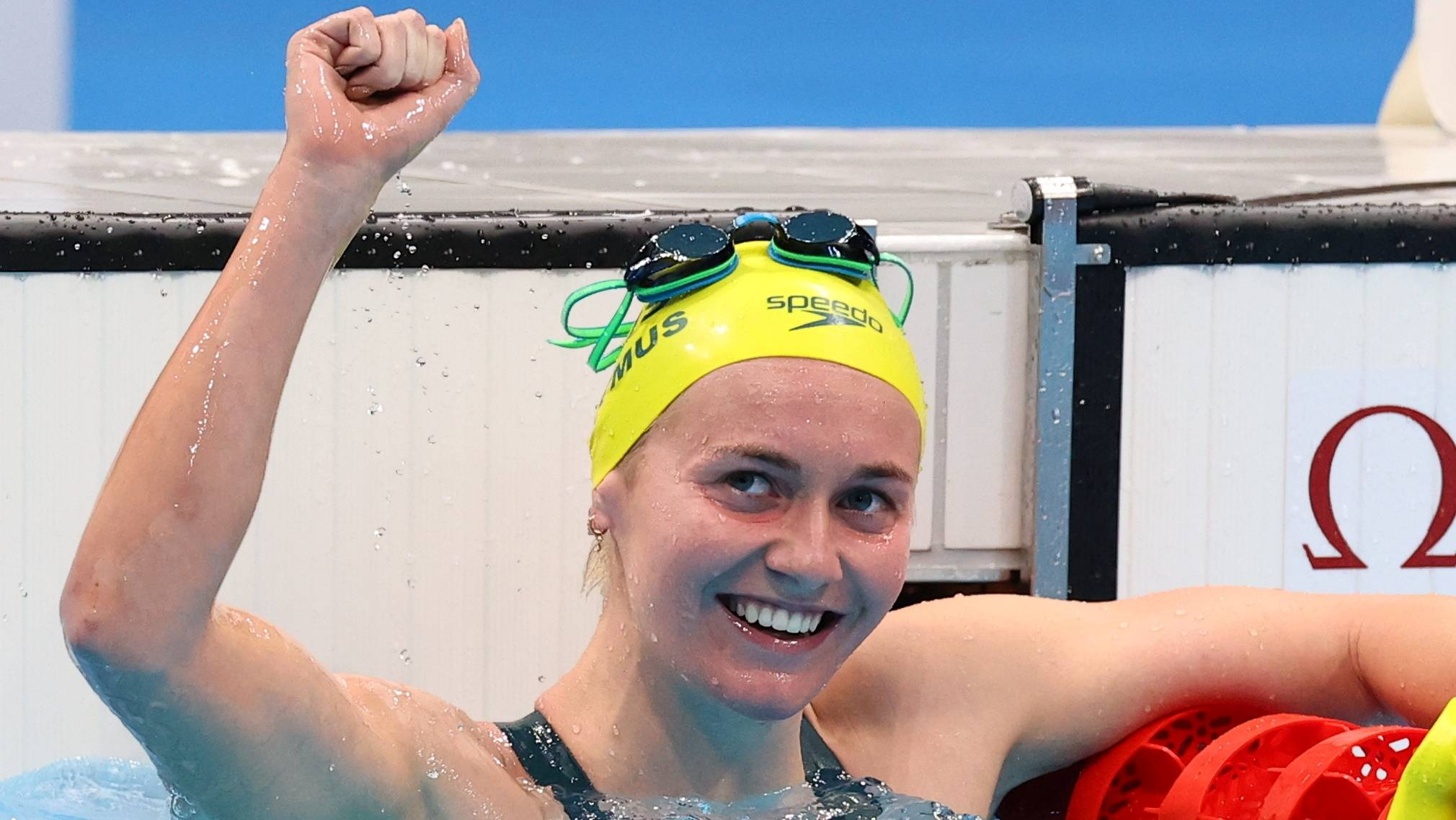 Ariarne Titmus of Australia celebrates winning gold in the women's 400-meter freestyle.  | REUTERS