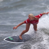 Tatiana Weston-Webb of Brazil competes in the women's shortboard competition on Monday.  | REUTERS