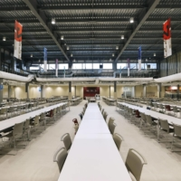 The main dining hall at the Olympic and Paralympic Village offers up to 45,000 meals a day. | KYODO
