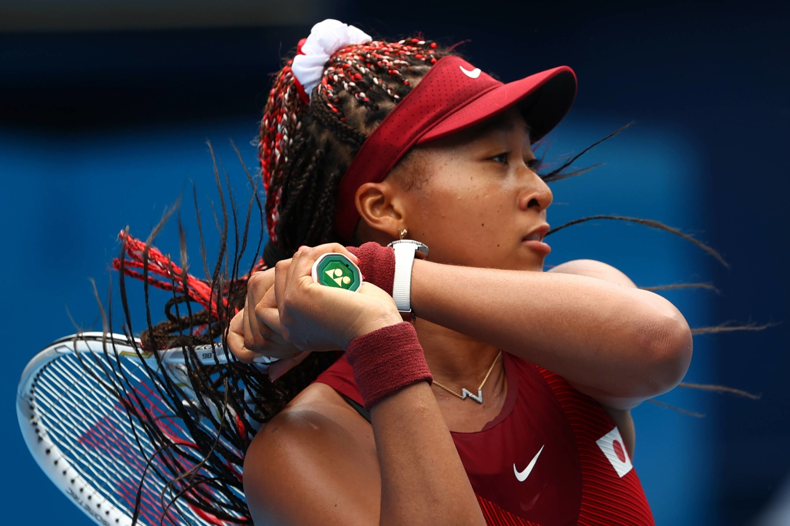 Naomi Osaka in action during her second-round match against Viktorija Golubic of Switzerland on Monday in Tokyo. Reuters   REUTERS