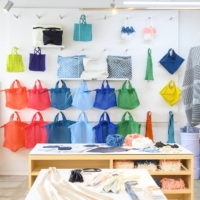 Komatsu Matere's mate-mono brand of upcycled and minimum waste goods on display at mono-bo, the textile company's new shop, cafe and laboratory. |