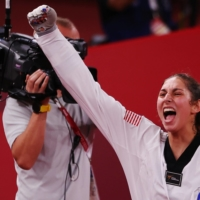 Anastasija Zolotic is the first American woman to win a gold medal in taekwondo.     REUTERS