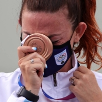 Bronze medalist Alessandra Perilli of San Marino at the medal ceremony for women's trap shooting in Tokyo on Thursday | REUTERS