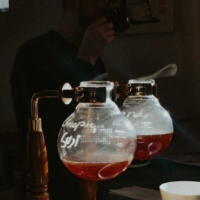 Coffee brewed in siphons, a method often used in kissaten, at Lamason Brew Bar in Wellington, New Zealand.  | COURTESY OF DAVE LAMASON