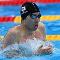 Kosuke Hagino, who won 400 IM gold for Japan at the Rio Games in 2016, finished in sixth in the 200 IM with a time of 1:57.49. | AFP-JIJI