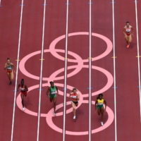 An overview of the women's 100-meter heat on Friday morning | AFP-JIJI