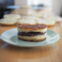 This whimsical, semi-savory spin on dorayaki (red bean-stuffed pancake 'sandwiches') uses homemade sourdough crumpets in place of castella cake | SIMON DALY