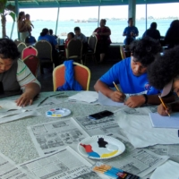 A nuclear test art workshop and contest is held on June 24 in Majuro sponsored by the Marshall Islands National Nuclear Commission.   AFP-JIJI