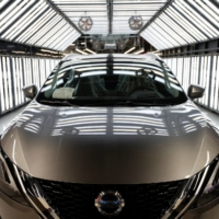 A Nissan Qashqai is seen on the production line of Nissan's Sunderland plant in Sunderland, England, ahead of a news conference on Thursday.   REUTERS