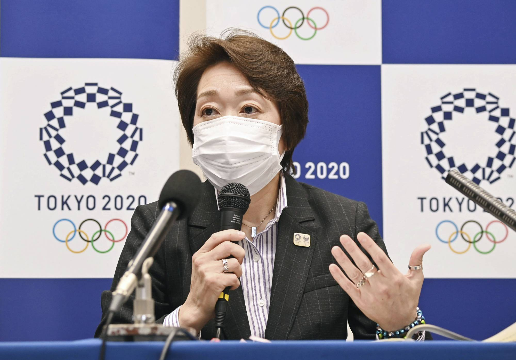 Tokyo 2020 Organising Committee head Seiko Hashimoto attends a news conference in Tokyo on Friday.   POOL / KYODO