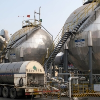 Carbon dioxide storage tanks at a cement plant and carbon capture facility in Wuhu, China | REUTERS