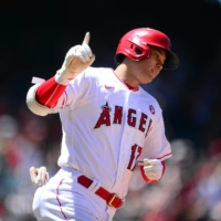 Los Angeles Angels designated hitter Shohei Ohtani reacts after hitting a solo home run against the Baltimore Orioles during the third inning at Angel Stadium in Anaheim, California, on Sunday.    USA TODAY / VIA REUTERS