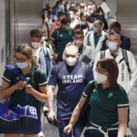 Members of Team Ireland arrive at Narita Airport on Thursday ahead of the Tokyo Olympics.   KYODO