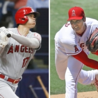 Shohei Ohtani has been both pitching and hitting at a high level during the 2021 MLB season.  | KYODO
