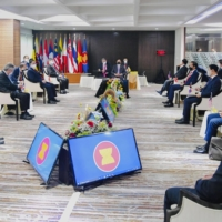 ASEAN leaders attend a special in-person summit meeting in Jakarta in April.   INDONESIAN GOVERNMENT / VIA KYODO