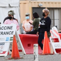 A vaccination site in Los Angeles on Tuesday   AFP-JIJI