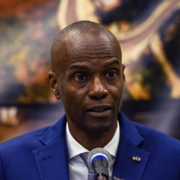 President of Haiti Jovenel Moise speaks at a new conference in Port-au-Prince, in January 2020. | AFP-JIJI