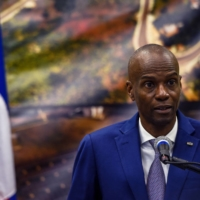 President of Haiti Jovenel Moise, who was killed on Wednesday, speaks at a news conference in Port-au-Prince in January 2020. | AFP-JIJI