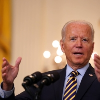 U.S. President Joe Biden speaks on the U.S. withdrawal from Afghanistan at the White House on Thursday.   SARAHBETH MANEY / THE NEW YORK TIMES