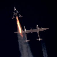 Virgin Galactic's passenger rocket plane VSS Unity, carrying Richard Branson and crew, begins its ascent to the edge of space above Spaceport America near Truth or Consequences, New Mexico, on Sunday in a still image from video.     | VIRGIN GALACTIC / VIA REUTERS.