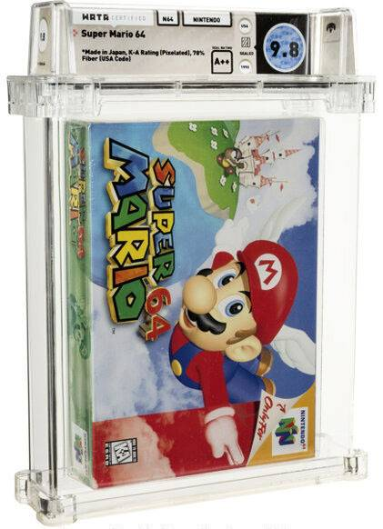 An unopened copy of Nintendo Co.'s Super Mario 64 sold for $1.56 million at an auction in the United States on Sunday. | HERITAGE AUCTIONS / VIA KYODO