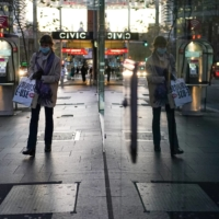A woman walks through the city center during a lockdown in Sydney on July 7.    REUTERS