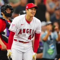 The Angels' Shohei Ohtani hit 28 home runs during the first round of the MLB Home Run Derby on Monday. | USA TODAY / VIA REUTERS