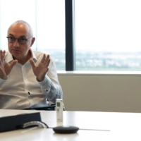 Luc Van den hove, CEO of the Interuniversity Microelectronics Center, is interviewed on July 7.   BLOOMBERG
