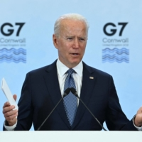 U.S. President Joe Biden speaks at a news conference on the final day of the Group of Seven summit, at Cornwall Airport Newquay, near Newquay, England, on June 13. | AFP-JIJI