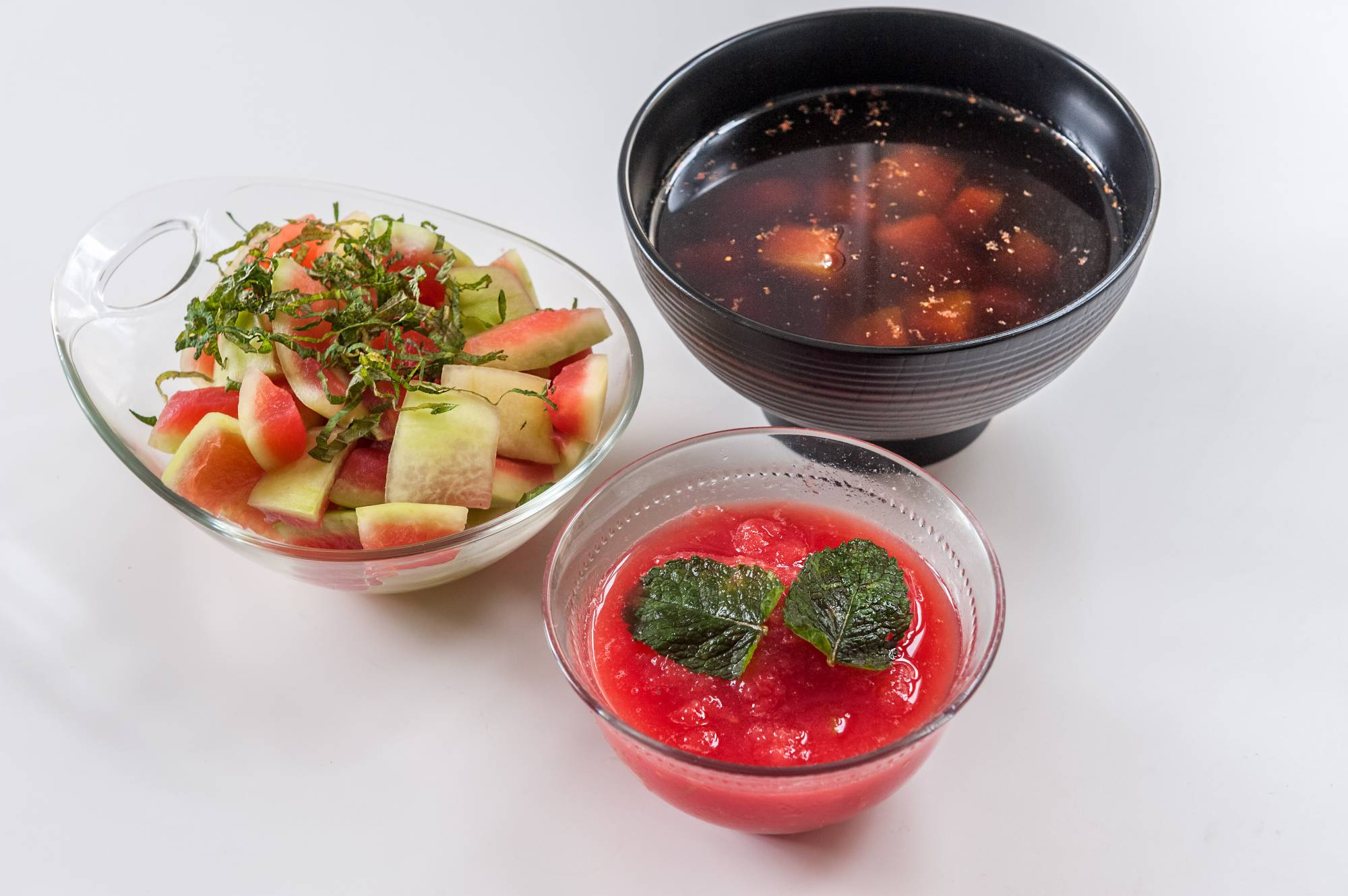 Use your summer watermelon to its fullest and make quick pickles (left), watermelon granita (center) and even watermelon rind soup.   MAKIKO ITOH