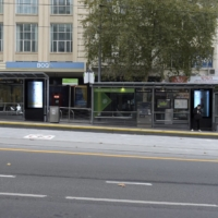 A tram stop during a lockdown in Melbourne in May | BLOOMBERG