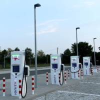 An electric vehicle charging station near Dresden, Germany   REUTERS