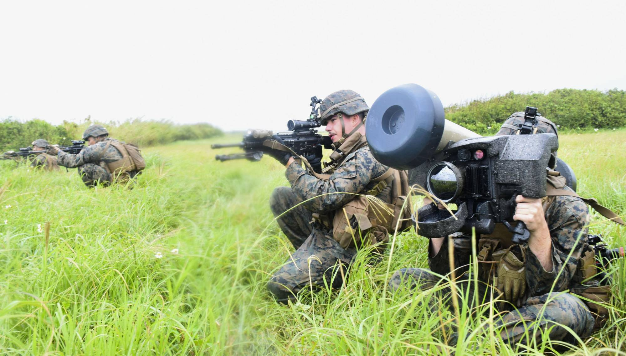 The U.S. Marine Corps used Japanese language while conducting military training in April on Ie Island, Okinawa Prefecture. | KYODO