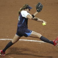 Monica Abbott pitches against the Netherlands at the Beijing 2008 Olympic Games.   REUTERS