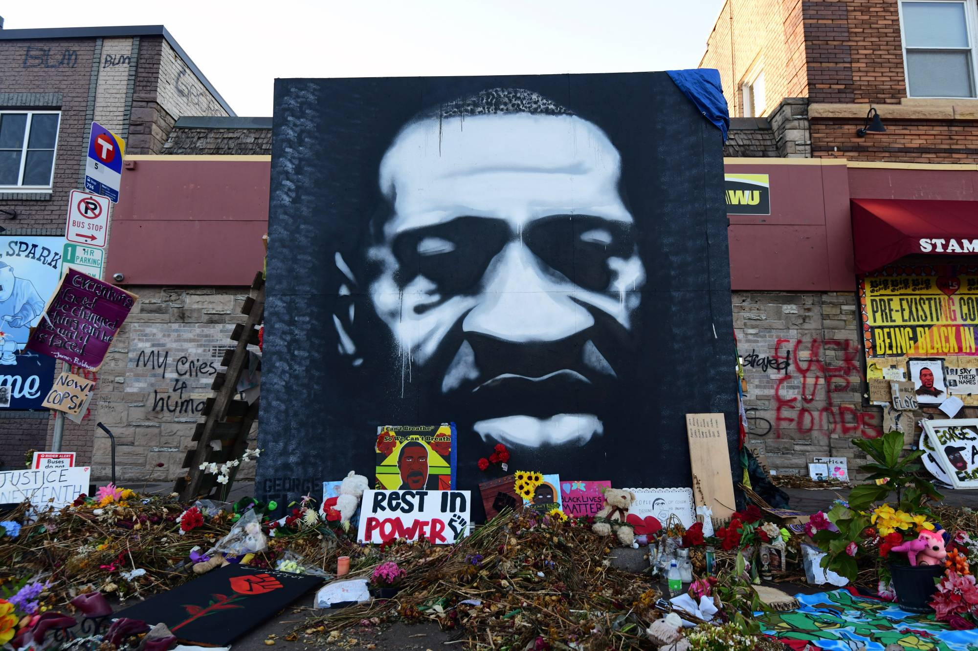 A memorial to George Floyd in Minneapolis, Minnesota. Countries around the world are experiencing a drift toward authoritarianism with democracies facing an erosion of trust in the institutions that underpin them by their citizens.  | REUTERS