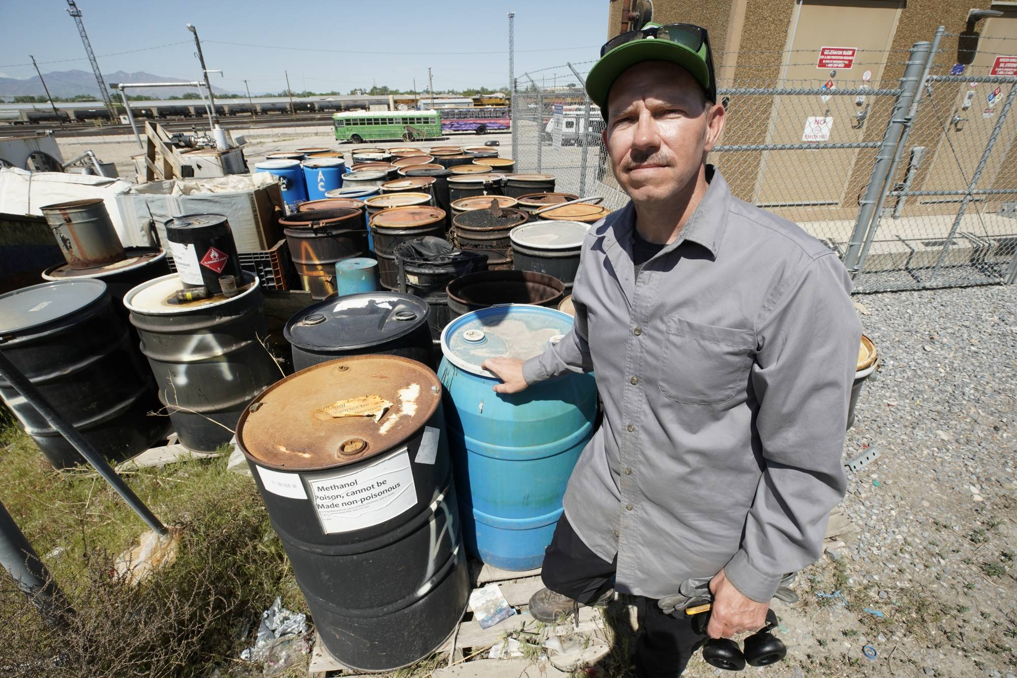 Jeremiah Bates complained to the the local fire marshal about the detritus piling up at recycling firm Renewlogy Technologies, next to his tire shop in Salt Lake City, Utah.   REUTERS