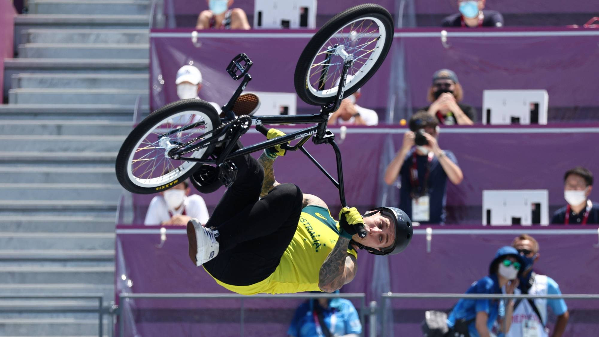 Logan Martin of Australia in action during the men's BMX freestyle final on Sunday at Ariake Urban Sports Park | REUTERS