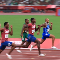 Italy's Lamont Marcell Jacobs, U.S.'s Fred Kerley, South Africa's Akani Simbine, U.S.'s Ronnie Baker and China's Su Bingtian sprint to the finish of the men's 100-meter. | REUTERS