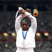 Silver medalist Raven Saunders of the United States during the medal ceremony for the women's shot put at Tokyo's National Stadium on Sunday | REUTERS