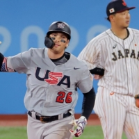 U.S. first baseman Triston Casas celebrates as he rounds the bases after hitting a three-run home run against Japan during their knockout stage contest in the Tokyo Olympics at Yokohama Stadium on Monday.   AFP-JIJI