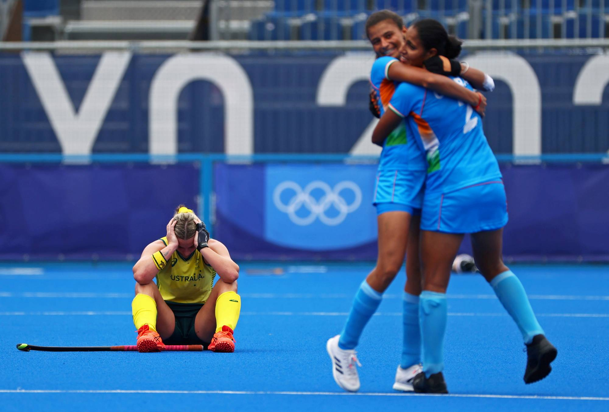 Australia's Mariah Williams reacts after her teams loss to India in the women's hockey quarterfinals    REUTERS
