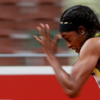 Elaine Thompson-Herah of Jamaica during her semifinal in the women's 200-meter sprint on Monday.    REUTERS