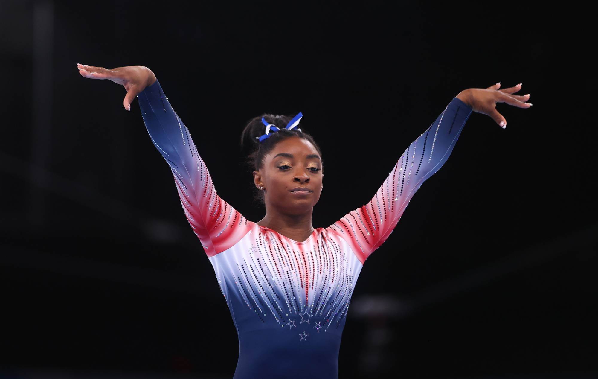 Simone Biles of the United States in action on the balance beam on Tuesday at Ariake Gymnastics Centre in Tokyo.   REUTERS