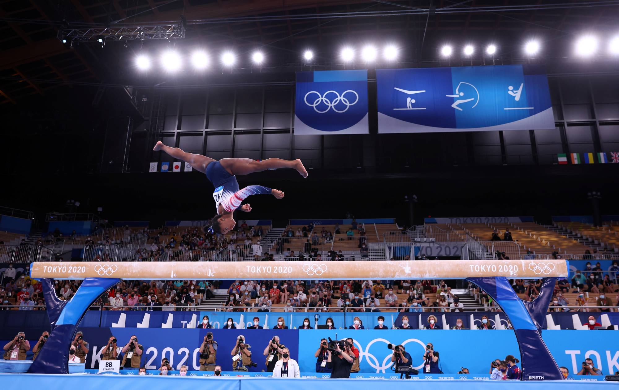 Simone Biles of the United States on the balance beam at the Tokyo Games on Tuesday  | MIKE BLAKE / REUTERS