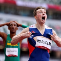 Karsten Warholm of Norway won the men's 400-meter hurdles at the Tokyo Games on Tuesday in an astonishing 45.94 seconds, a time faster than 18 of the 48 Olympians who competed in qualifying for the men's 400 meters without hurdles. | LUCY NICHOLSON / REUTERS